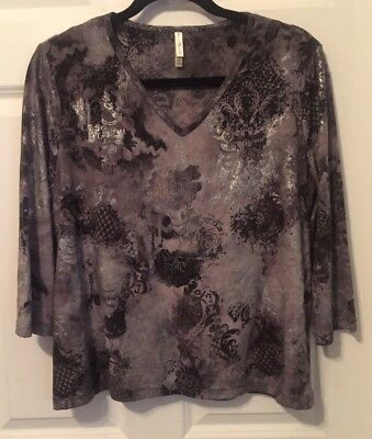 NWOT Dark Multicolored Designer Blouse By White Stag Size Large 12/14