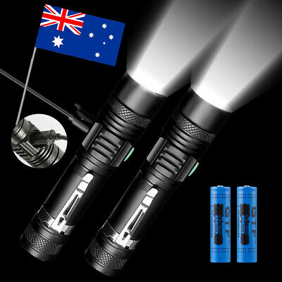 2pcs 20000lm Shadowhawk CREE T6 LED Flashlight USB Rechargeable waterproof Torch