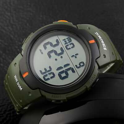 SKMEI Men Military LED Alarm Outdoor Sport  Digital Watch Large Dial Rubber Band