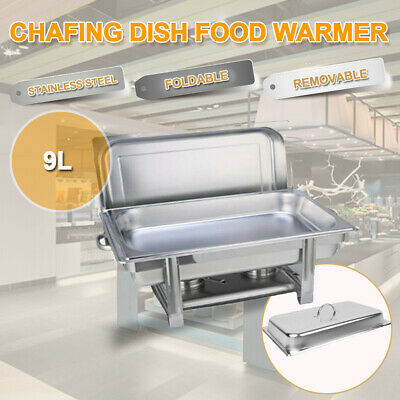 9L 2 Trays Bain Marie Chafing Dish 304 Stainless Steel Buffet Food Warmer