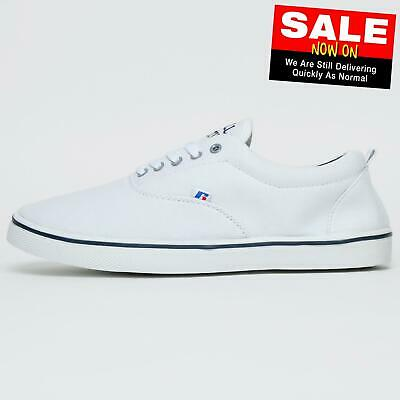 Russell Athletic Oxford Lace Mens Calssic Casual Canvas Plimsoll Trainers White
