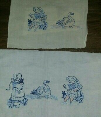 Lovely Embroidered Cross Stitch Pieces Girl with Cat and Swan