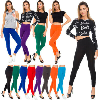 Womens Seamless Solid Plain Leggings High Waisted Stretchy Pants M-3XL FS29017