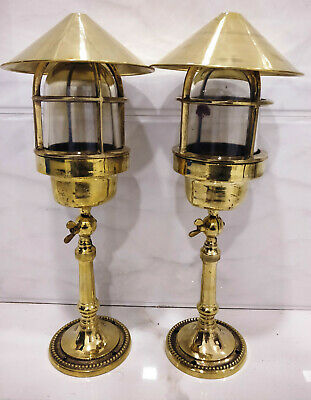 Rare vintage style new marine brass ship nautical table lamp 2 piece