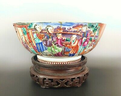 Huge Chinese Antique Porcelain Famille Rose Punch Bowl Qianlong Period 18th.C