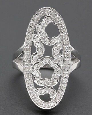 Floral Design 14k White gold and Diamond  Ring
