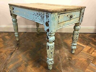 Antique Authentic Painted Rustic Distressed Farmhouse Scrub Top Table - Delivery