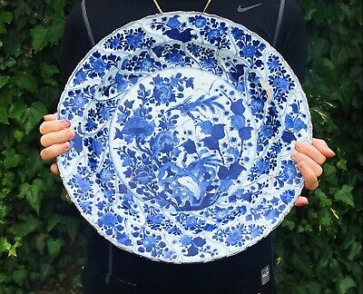 Huge 37CM Kangxi Chinese Antique Porcelain Blue And White Plate With Birds