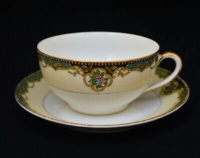 Antique Japan Eggshell Cup And Saucer Set Hand Painted Floral