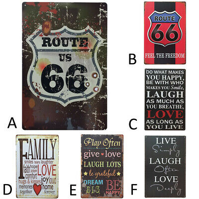 6PC Vintage Metal Tin Sign Poster Plaque Bar Club Cafe Plate Wall Decor Art Lot