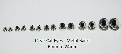 CLEAR CATS Crystal Eyes - METAL BACKS -Traditional Teddy Bear Toy Doll Safety