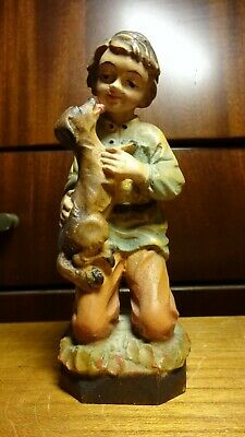 "Vintage 5"" Wooden Hand Carved Kneeling Boy With Dog Statue Figurine German Gift"