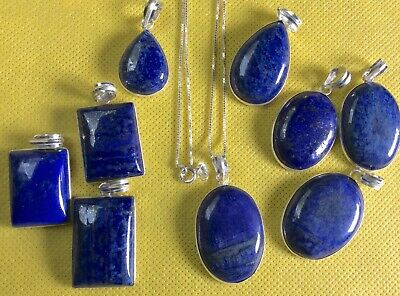 Lapis Lazuli Pendants From India With/Without 925 Sterling Silver Chain