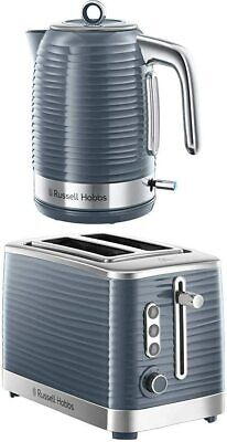 Russell Hobbs Inspire Cordless Electric Kettle & 2 Slice Toaster Set in Grey