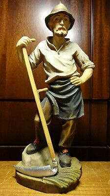 "Vintage 12"" Wooden Hand Carved Farmer Peasant With Scythe Statue Figurine Gift"