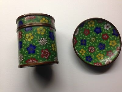 Chinese Cloisonné Box with match box &small tray green backgroundand flowers