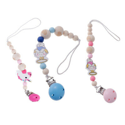 Set 3 Infant Baby Dummy Chain Wood Pacifier Clip Bead Dummy Clip Teether Toy