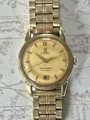 Omega Seamaster Vintage 14K Gold Filled Ss Automatic Calendar Watch W Link Band