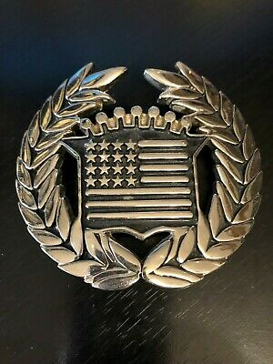 Crest Wreath Flag Belt Buckle Famous Stars and Straps Numbered Silver Tone