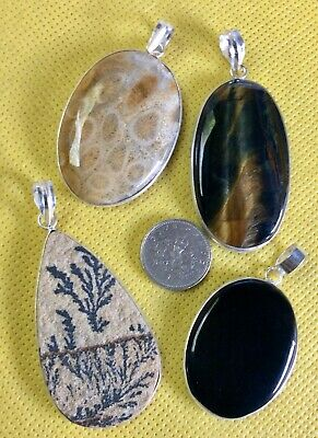 Joblot Of 4 Natural Gemstone Pendants Including Merlinite From India