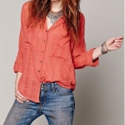64900aa07 Free People Shibori Siren Top Size S Button Down Open Back Shirt Orange EUC  B13