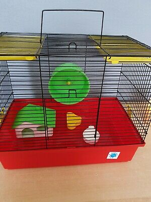 Hamster Cage Small Pet Enclosure With Wheel House Food/Water Dishes
