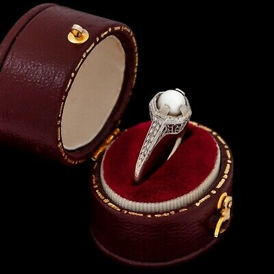 Antique Vintage Deco 18k White Gold Saltwater Akoya Pearl Engagement Ring S 5.25