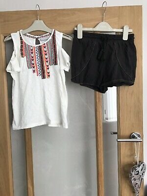 Girls Pretty Summer Outfit Top & Shorts Age 9 Next