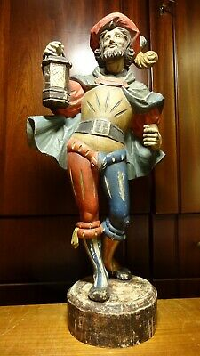 """Vintage 17"""" Wooden Hand Carved Night Guard Watchman Pirate + Lantern Statue Gift"""