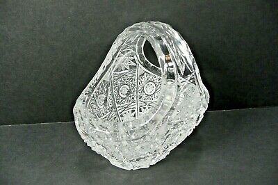 ABP Rare Antique Vintage Cut Crystal Glass Basket Handled