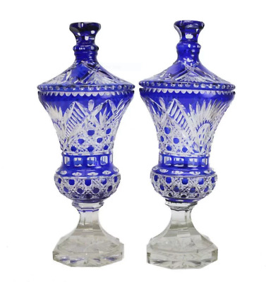 Gorgeous Large Pair of Bohemian Cobalt Blue Cut to Clear Lidded Urns, c. 1910