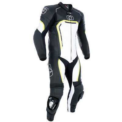 Oxford Stradale Men's 1 Piece Leather Motorcycle Motorbike Race Suit Black White