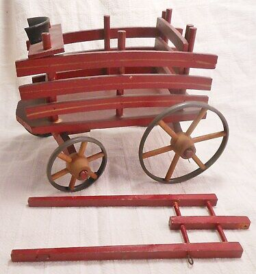 Victorian Antique Wood Wheel Pull Toy Wagon