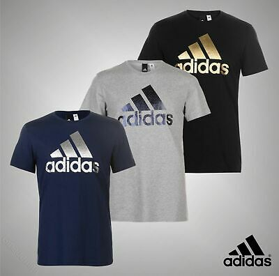 Mens Genuine Adidas Casual Large Foil Logo T Shirt Crew Top