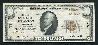 1929 $10 The First National Bank Of Scranton, Pa National Currency Ch. #77 Vf+