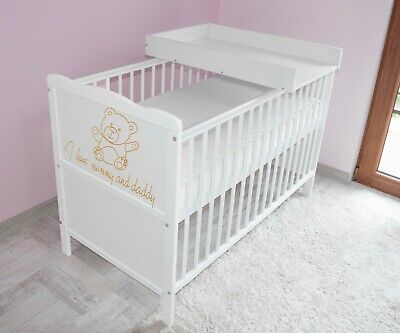 Wooden Baby Cot Bed✔Mattress✔Top Changer✔Teething rails-Converts to Junior Bed 1
