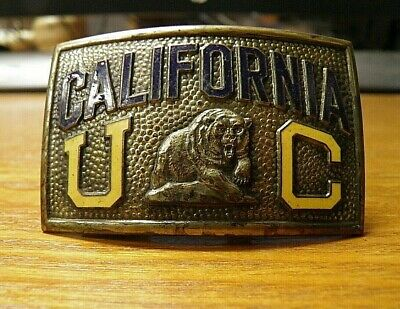 Vintage University of California Berkeley BRASS BELT BUCKLE PAT 3-8-1927 Jenkins