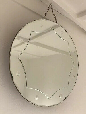 Vintage Beveled Etched Frameless Large Round Mirror Lovely Mirror Art Deco