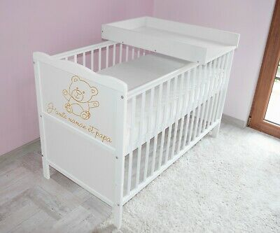 Wooden Baby Cot Bed✔Mattress✔Top Changer✔Teething rails-Converts to Junior Bed 2