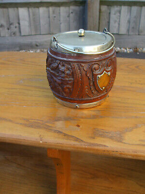 Antique English carved oak E.P.N.S biscuit barrel, useful for ice