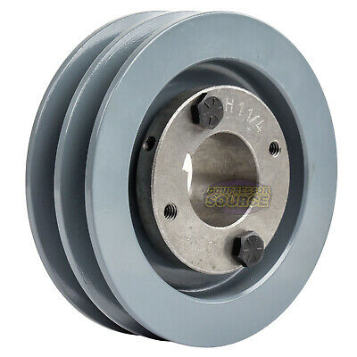 """Cast Iron 4.5"""" 2 Groove Dual Belt A Section 4L Pulley With 1-1/4"""" Sheave Bushing"""