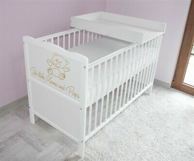 Wooden Baby Cot Bed✔Mattress✔Top Changer✔Teething rails-Converts to Junior Bed 4