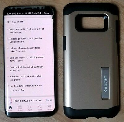 Samsung Galaxy S8 64GB Black Unlocked Smartphone w/ Spigen Case