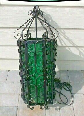 Vintage Wrought Iron Gothic Scroll Hanging Swag Lamp 6 Panel green Glass