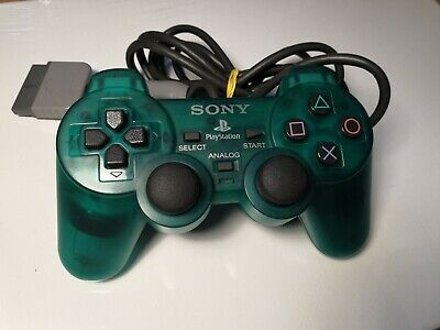 OFFICIAL Sony PlayStation PS1 PS2  Controller Clear Green Dual Shock 1 SCPH-1200