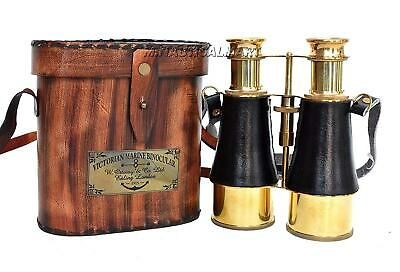 Nautical Brass Victorian Marine Binocular With Leather Box Free