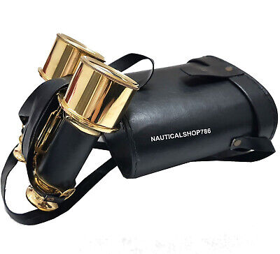 Nautical Brass Collectible Marine Binocular With Black Leather Box Free