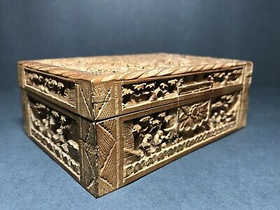 """Antique Asian Chinese Carved Wood Trinket Jewelry Cigarette Box 5"""" x 31/2"""""""