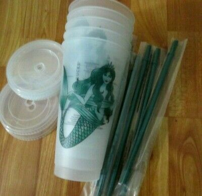 NEW LOT Of 4 Starbucks Mermaid Siren Frosted Reusable Cold Cup 2019
