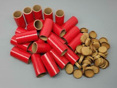 "25 Fireworks Tubes And Caps Heavy Wall 1/4 Stick Red 1"" x 2-1/2"" x 1/8""  37mm"